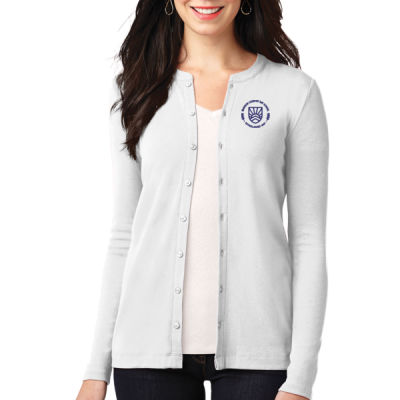Port Authority - Women's Button Front Cardigan - Embroidered Logo Thumbnail